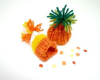 2 Miniature Fall Knit Hats- Autumn Knitted Caps- Candy Corn- Pumpkin Hat- Halloween, Doll, Pet
