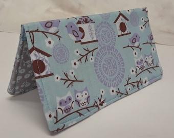 Blue Birds Bird Houses Checkbook Cover Coupon Holder Clutch Purse Billfold Ready-Made