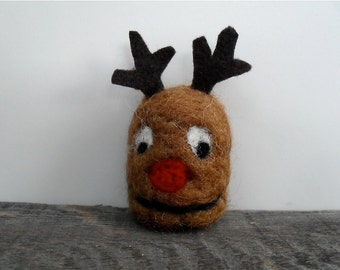 Cat toy catnip Reindeer head, needle felted