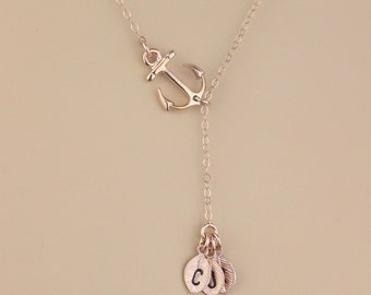 Rose Gold Anchor Lariat Necklace, Custom Initial Leaf Charm Y Necklace, Initial Anchor Jewelry, You Are My Anchor, Monogram Birthday Gift