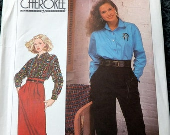 Vintage Simplicity 9417  Misses Pants, Skirt and Shirt in size 12-18 Uncut Cherokee