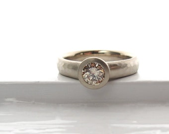 Recycled white gold and Champagne diamond ring, bezel solitaire low profile engagement ring with wide hammered band