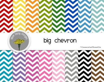 "Rainbow Chevron Digital Papers, 12x12"", Instant Download"