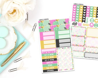 Black Floral Collection-Recollections Mini Vertical Planner Stickers