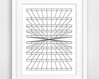 Op Art,Black White Wall Print,Black and White Prints,Minimalist Art,Black White Drawings,Contemporary Art,16x20 Poster,Industrial Artwork