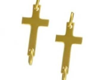 24K Vermeil Sideways Cross Link Charm Pendant, 2 pcs- Sterling Silver 16x6mm