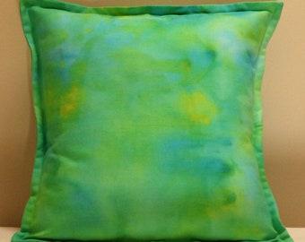 """Cushion Cover, 14"""" Square Cushion Cover, Pillow Cover, Throw Pillow Cover, Hand Dyed Cushion Cover, One of a Kind Cushion Cover, Blue Green"""