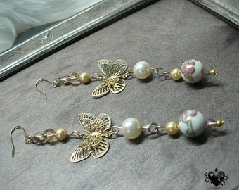 Charming Vintage-style Pink and Gold Butterfly Pearl Cloisonne Earrings