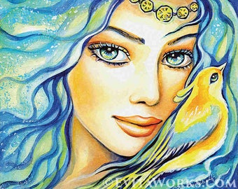 Girl and bird, Inspirational art, watercolor painting, fantasy fashion illustration, healing art, angel art, woman wall print 8x10+