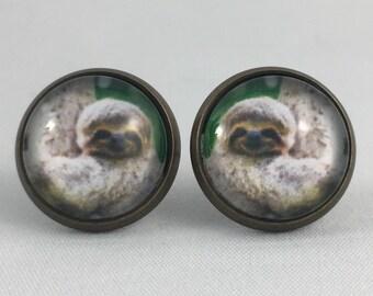 Sloth Earrings, Print Earrings, Sloth Jewelry, Sloth Print, Personalized Studs, Sloth Studs, Stud Earrings, Sloth Fashion, Sloth, Sloths