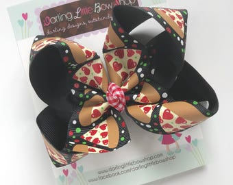 Pizza bow -- Pizza hairbow -- black, red, green and gold pepperoni pizza hairbow