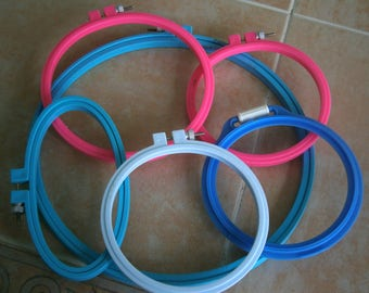 Embroidery Hoops Mixed Lot, Set Ten Wooden and Plastic Embroidery Hoops, Wholesale, See All Photos