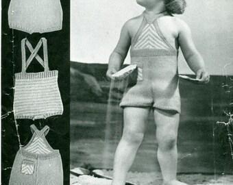 Bairnswear 1280 Three Vintage Sun Suit Patterns 2 to 3 Years