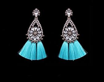 Crystal Earrings, Rhinestone Earrings, Tassel Earrings, Blue Earrings