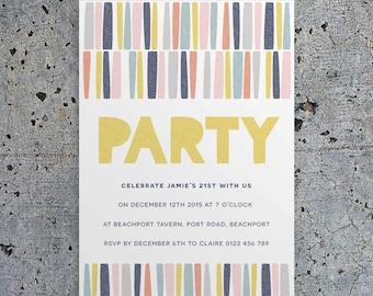 Printable Party Invitation Set PDF - Geo Sticks