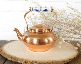 Vintage Copper Kettle, Copper Tea Kettle DECOR ONLY,  Porcelain Delft Handles, Copper Cookware, French Country, Farmhouse Decor