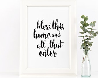 Bless this home, Printable quotes, Quote prints, Inspirational quot, printable wall art, calligraphy print, typography print