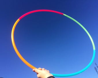 "30"" 4 Section UV Rainbow 5/8"" Polypro Dance & Exercise Hula Hoop COLLAPSIBLE push button - pink orange teal green"