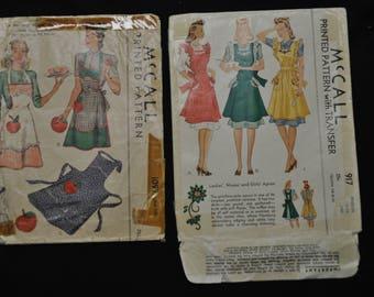 Two 1940's Vintage (Envelopes only) Apron Pattern Envelopes  - Note: Envelopes Only No Pattern Pieces