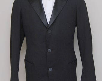 1960-70s men's black wool tuxedo jacket/ 60-70s men's black tux jacket