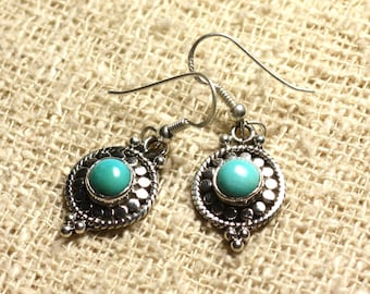 BO210 - 925 Silver 20mm Silver earrings - Turquoise natural 6mm