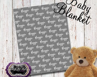 Personalized Baby Blanket Monogrammed with Name Baby Shower Gift perfect for Swaddle and Receiving Blanket Inspired by Subway Art