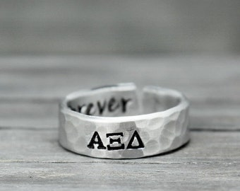 Alpha Xi Delta Ring, Hammered Sorority Ring, personalized jewelry, hand stamped ring, handstamped jewelry, Sorority Jewelry
