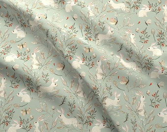 Spring Bunnies Fabric - Bunnies Dusky Green By Katherine Quinn - Bunny Rabbit Botanicals Spring Cotton Fabric By The Yard With Spoonflower