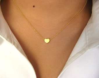 Dainty Heart Necklace - 14K gold filled necklace with Little Heart 14K matt gold plated - love necklace - minimalist