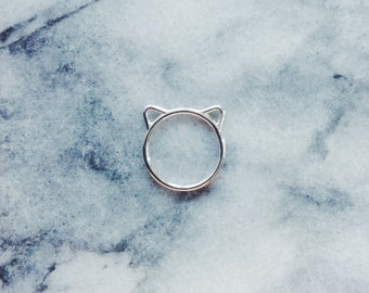 Silver Cat Ears Ring - Cat Jewelry, Silver Ring, Simple Ring, Minimalist Ring, Everyday Ring