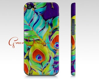 Colorful Silk painting Peacock Feathers Impressionist iPhone Case cover 4 4s 5 5s Samsung Galaxy S3 s4