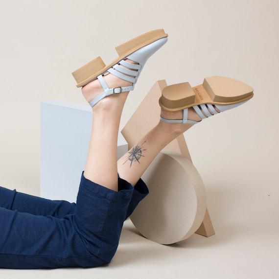 Ankle Sandals Strap Sandals Blue Sandals Casual Sandals Leather Sandals Women Slingback Summer Shoes Sandals vvZSPqH