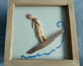 Surfs Up. Pebble art. Unique gift.