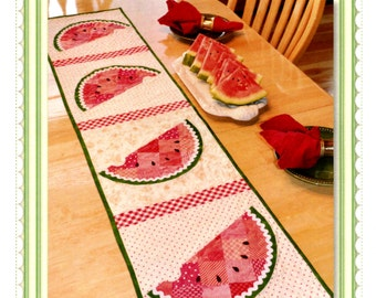 Watermelon Table Runner Pattern, Shabby Fabrics 48631, Summer Table Runner, Summer Table Decor