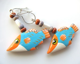 Earrings, drop earrings, fish earrings, blue, orange, white and black, 1 and 1 qtr inch fish, Sterling findings B-386