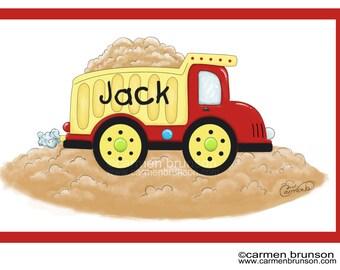 Personalized Placemat-kids placemat-kitchen decor-monogram gift-Dumptruck-Construction-truck-boy gift-boy placemat-party favor-easter gift