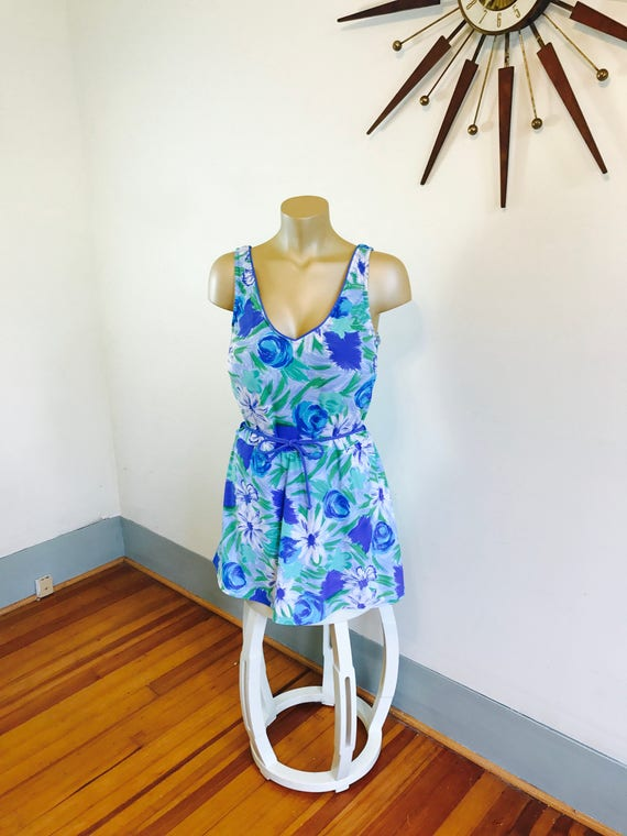 Plus Size Swimsuit, 70s One piece, Sea Wave swimsuit, 70s Bathing Suit, Floral one piece, Skirted swimsuit, Plus Size swimwear, Sz 20 22 3XL