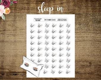 Sleep In | Printable Planner Stickers | Planner Printables | Printable Stickers | Weekend | Sleep In Pillows | Cut File