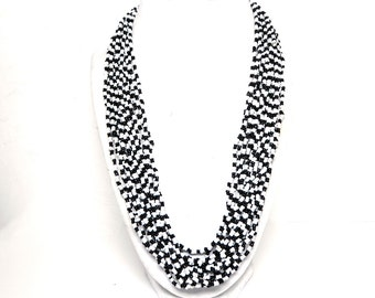 """Black and White Multi Strand Necklace - Glass Seed Beads - Vintage 1980's 1990's 19 Strands Princess Length Modern Vintage - 26"""" long"""