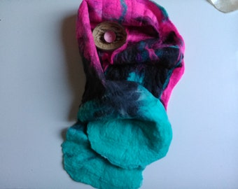 Beautiful woolen felted scarf(sling) hand-made merino!