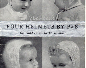 Vintage baby hats knitting pattern PDF Baby Helmets Balaclava 0-18months 4Ply Mohair / DK / 3Ply  Baby Knitting Pattern PDF instant download