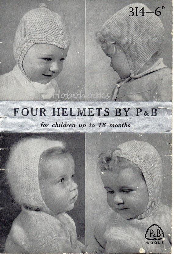 Vintage Baby Hats Knitting Pattern Pdf Baby Helmets Balaclava 0