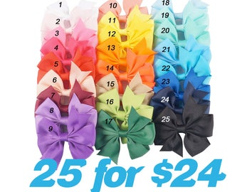1.00 each Hair Bows / READY TO SHIP / Boutique Hair Bow Clips / You Pick The Colors / Set of 25 / Hair Clip
