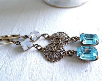 Vintage Inspired Aquamarine Opal Dangle Earrings Something Blue Wedding Jewelry Blue White Brass Earrings Antique Downton Abbey Style