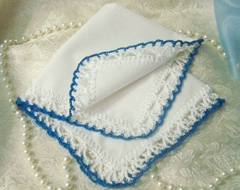 Blue Lace Handkerchief, Crochet Hanky, Lace Hankie, Ladies Gift, Bridal Party Gift, Hand Crochet, Custom Embroidered, Ready to ship