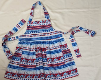 Girl's Patriotic Colors - Red, White and Blue Seaside Theme Cotton Fabric Full Apron      Free Shipping