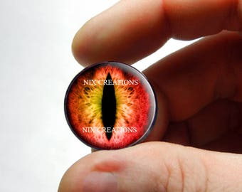 Glass Eyes - Red Yellow Dragon Glass EyesTaxidermy Doll Eyeballs Cabochons - Pair or Single - You Choose Size