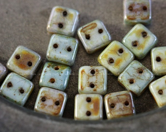 CHEXX LOVE .. 20 Picasso Glass CzechMate Chexx Tile Beads 6mm (4077-20)