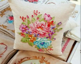 Cover cushion 40 x 40 decor multicolor flowers print fabric