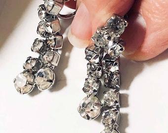 Rhinestone Dangle Earrings Screw Back Prong Set Silver Tone 1950s Vintage